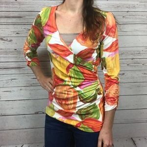 Cabi 579 Faux Wrap Tulip Ruched Top - S5